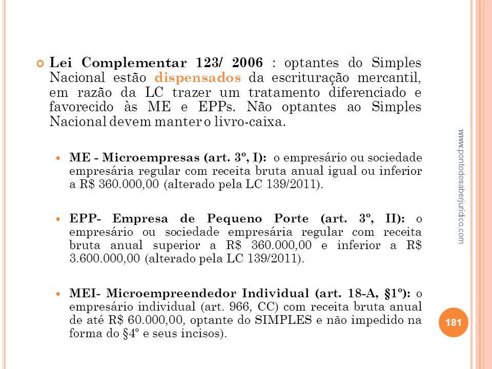 Lei Complementar 123/ 2006 : optantes do Simples Nacional estão dispensados da escrituração mercantil, em razão da LC trazer um tratamento diferenciado e favorecido às ME e EPPs. Não optantes ao Simples Nacional devem manter o livro-caixa.