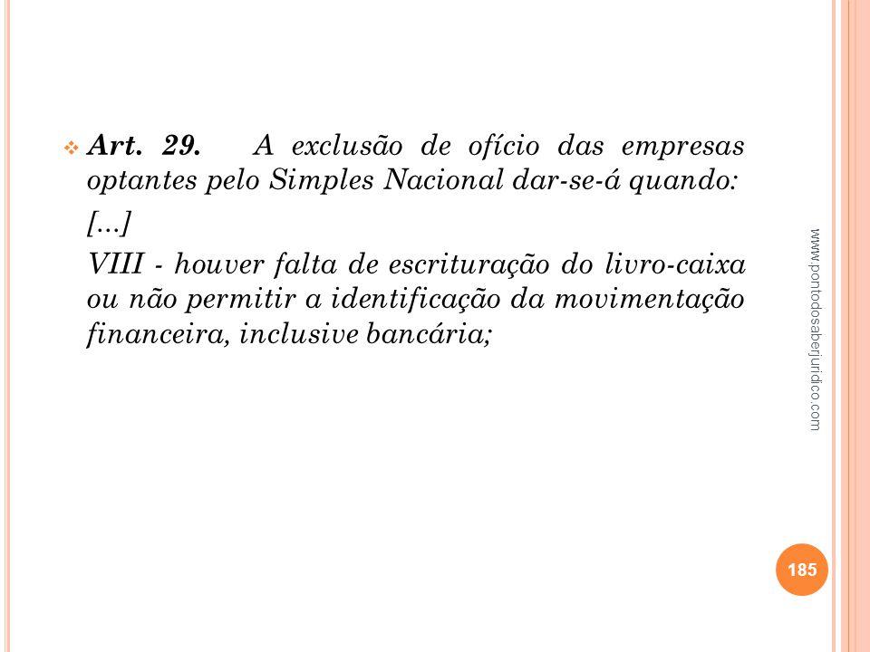 Art. 29. A exclusão de ofício das empresas optantes pelo Simples Nacional dar-se-á quando: