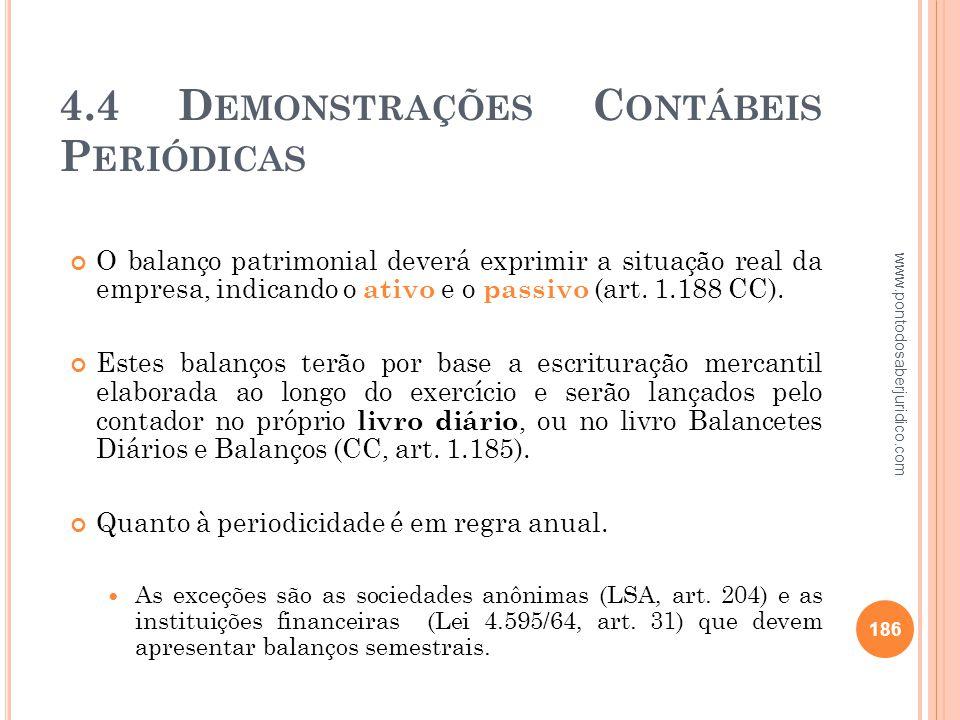 4.4 Demonstrações Contábeis Periódicas