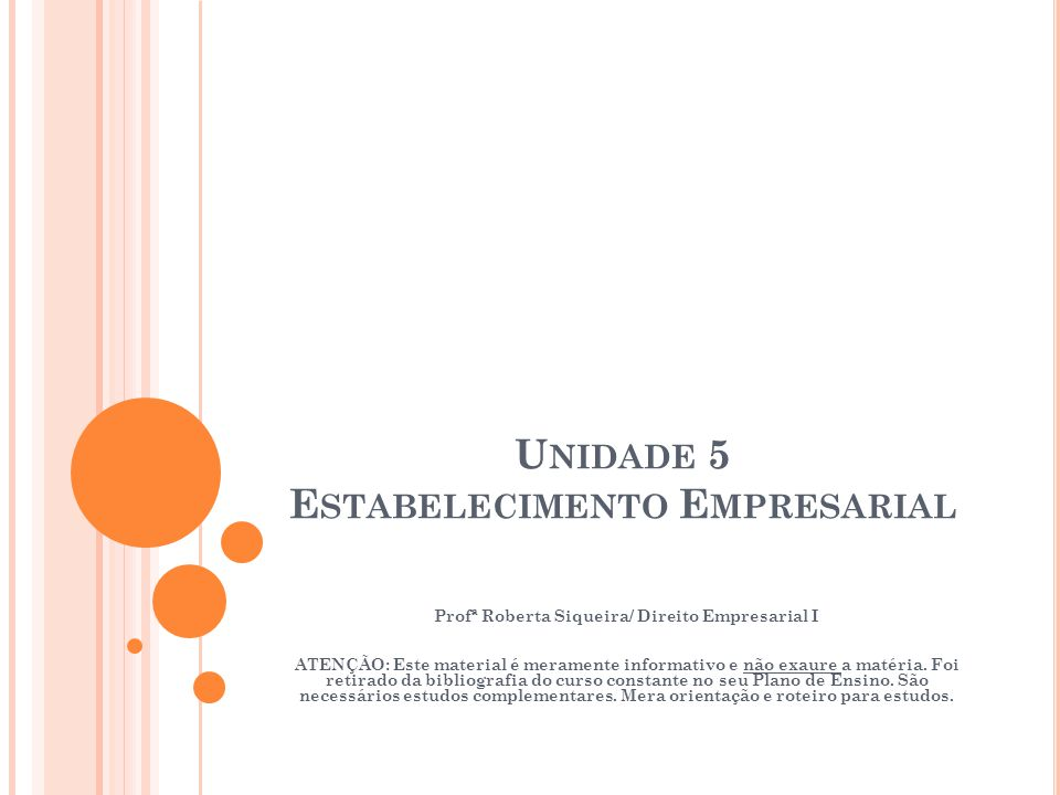 Unidade 5 Estabelecimento Empresarial