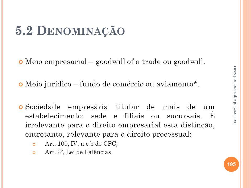 5.2 Denominação Meio empresarial – goodwill of a trade ou goodwill.