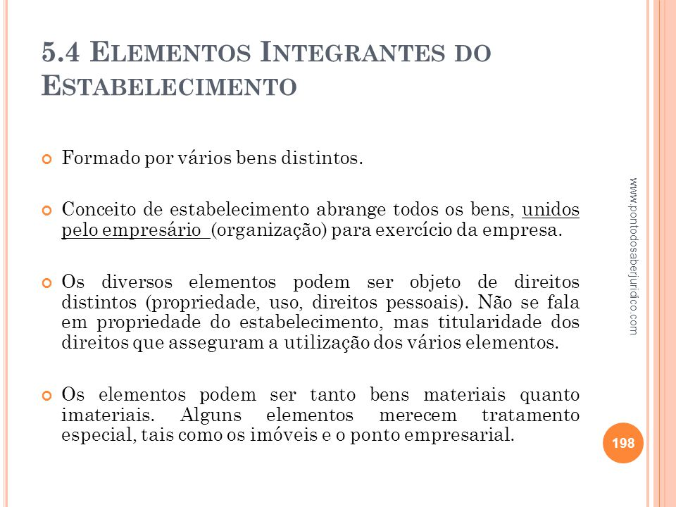 5.4 Elementos Integrantes do Estabelecimento