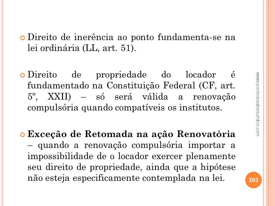 Direito de inerência ao ponto fundamenta-se na lei ordinária (LL, art