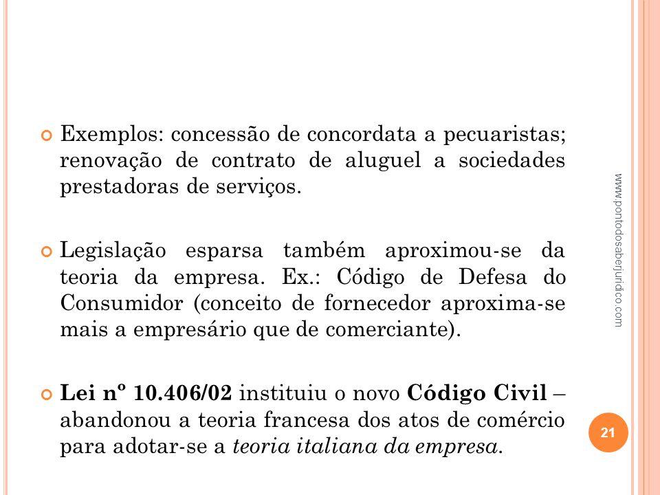 Exemplos: concessão de concordata a pecuaristas; renovação de contrato de aluguel a sociedades prestadoras de serviços.