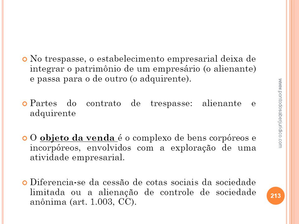 Partes do contrato de trespasse: alienante e adquirente