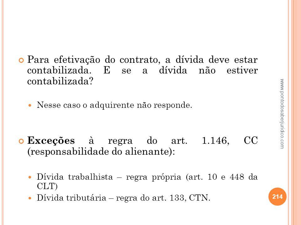 Exceções à regra do art. 1.146, CC (responsabilidade do alienante):
