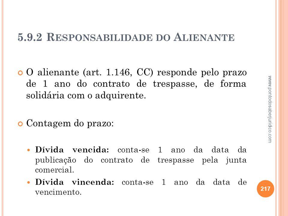 5.9.2 Responsabilidade do Alienante