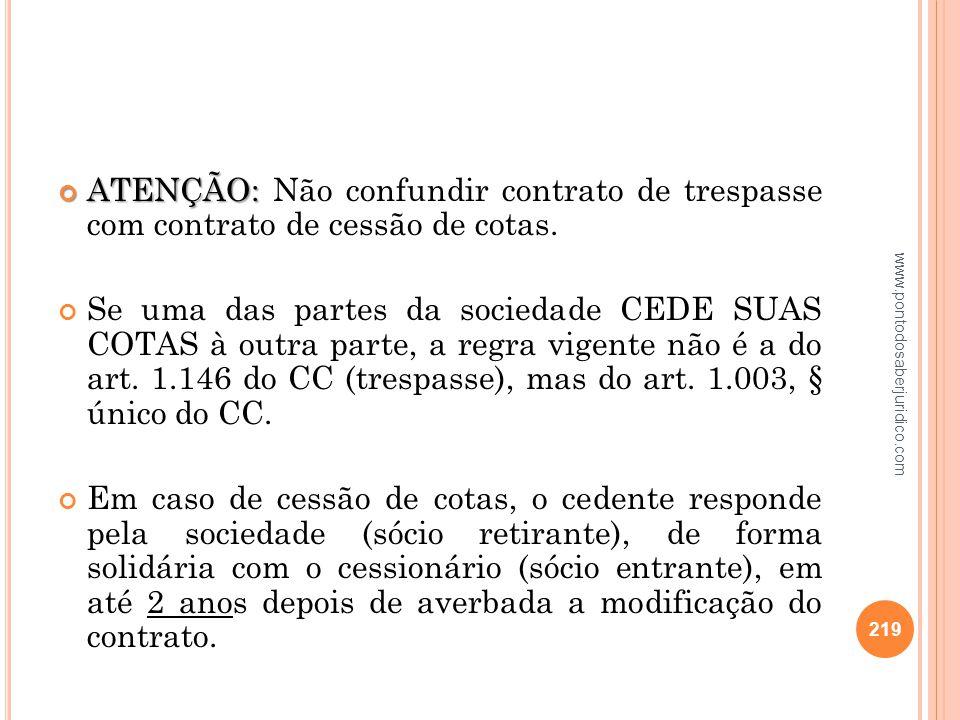 ATENÇÃO: Não confundir contrato de trespasse com contrato de cessão de cotas.