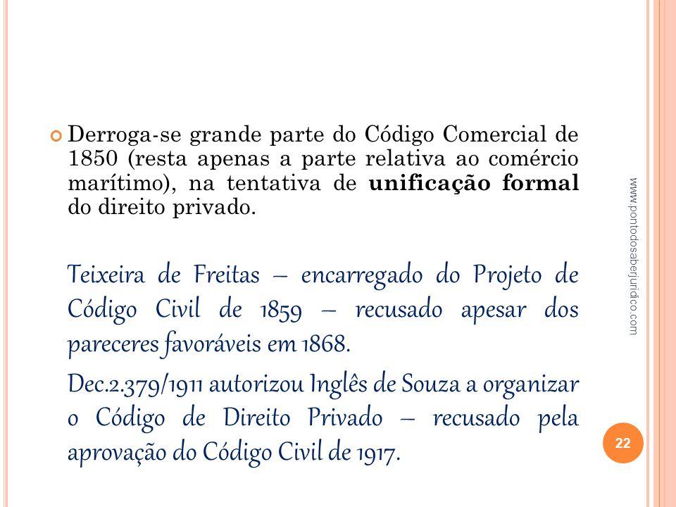 Derroga-se grande parte do Código Comercial de 1850 (resta apenas a parte relativa ao comércio marítimo), na tentativa de unificação formal do direito privado.