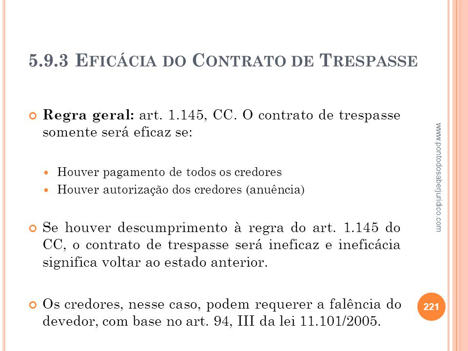 5.9.3 Eficácia do Contrato de Trespasse