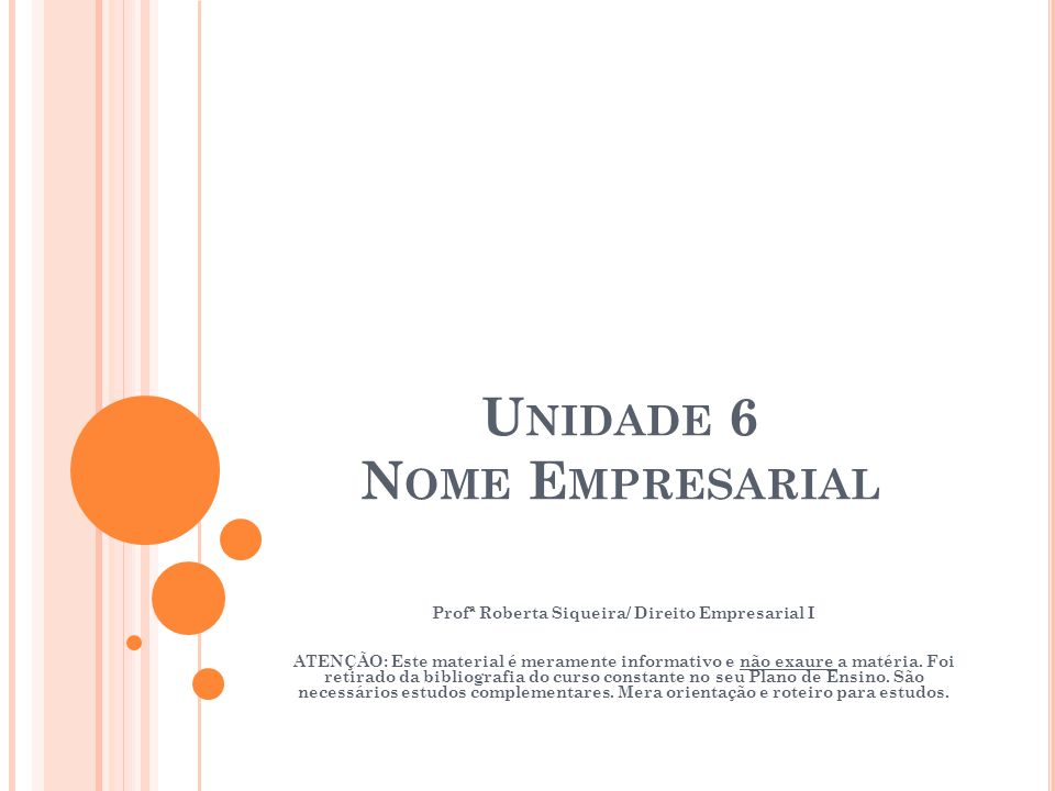 Unidade 6 Nome Empresarial