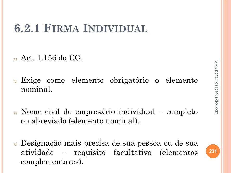 6.2.1 Firma Individual Art. 1.156 do CC.