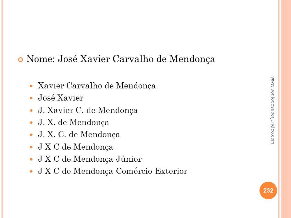 Nome: José Xavier Carvalho de Mendonça