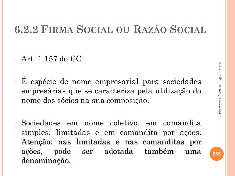 6.2.2 Firma Social ou Razão Social