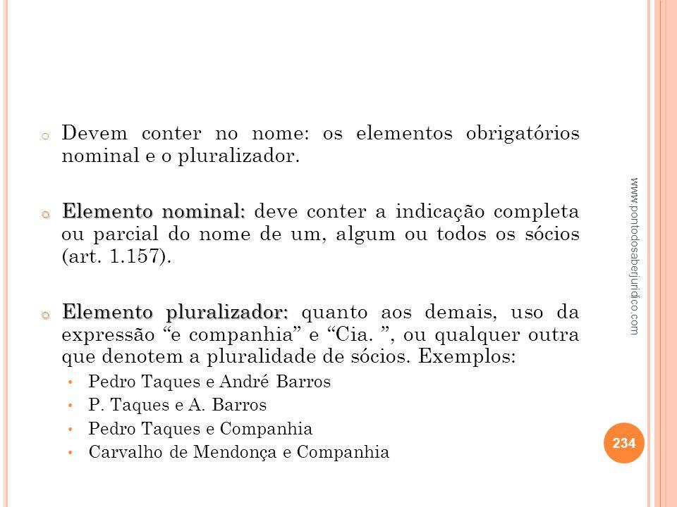 Devem conter no nome: os elementos obrigatórios nominal e o pluralizador.