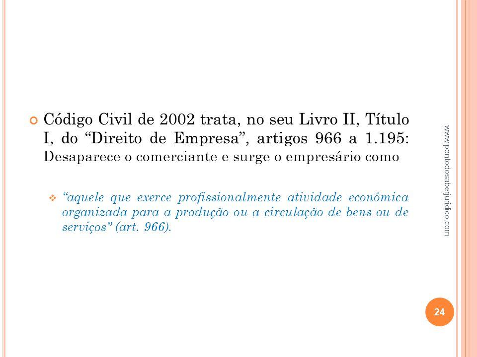 Código Civil de 2002 trata, no seu Livro II, Título I, do Direito de Empresa , artigos 966 a 1.195: Desaparece o comerciante e surge o empresário como
