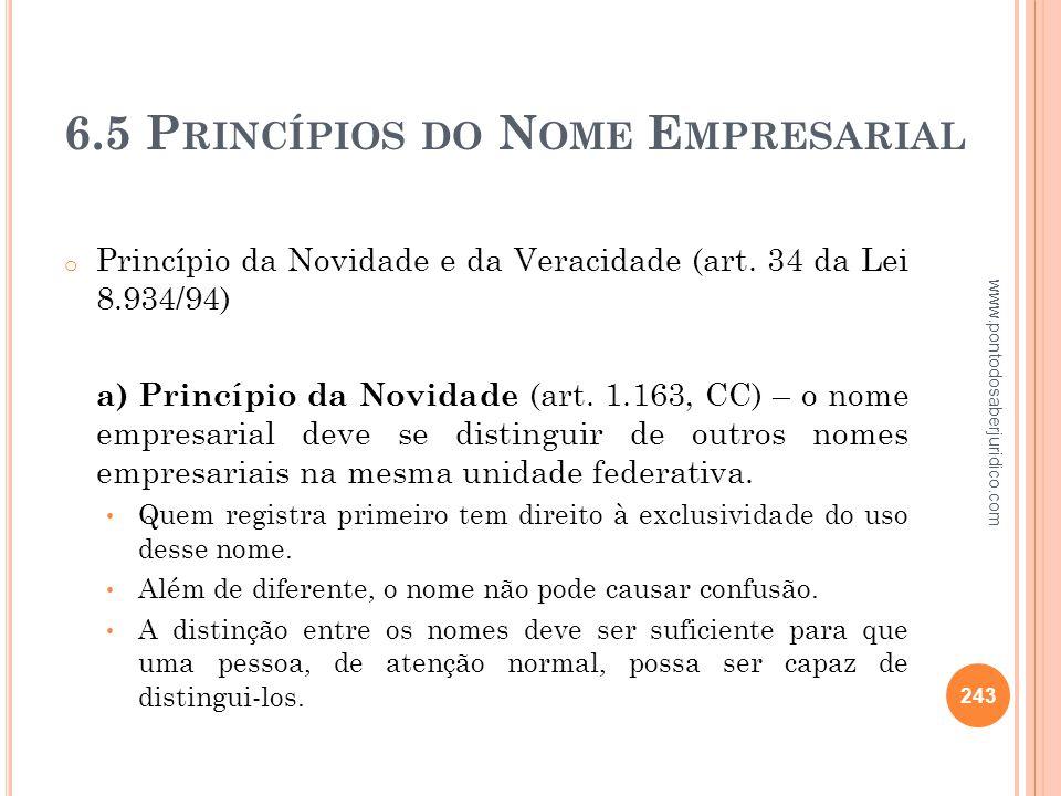 6.5 Princípios do Nome Empresarial