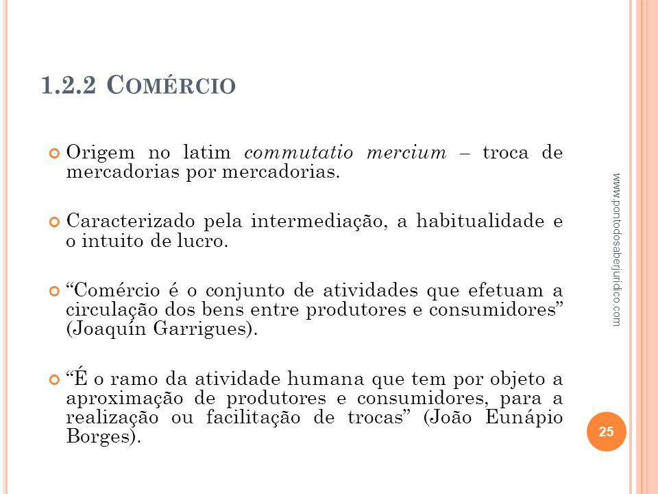 1.2.2 Comércio Origem no latim commutatio mercium – troca de mercadorias por mercadorias.