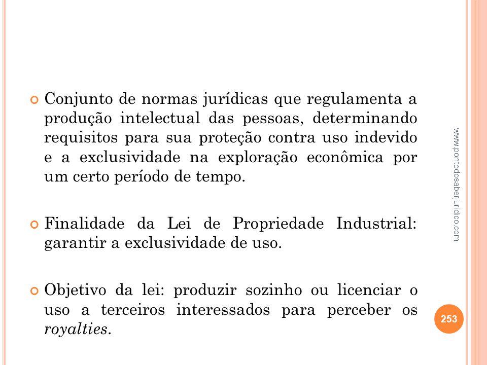 Conjunto de normas jurídicas que regulamenta a produção intelectual das pessoas, determinando requisitos para sua proteção contra uso indevido e a exclusividade na exploração econômica por um certo período de tempo.