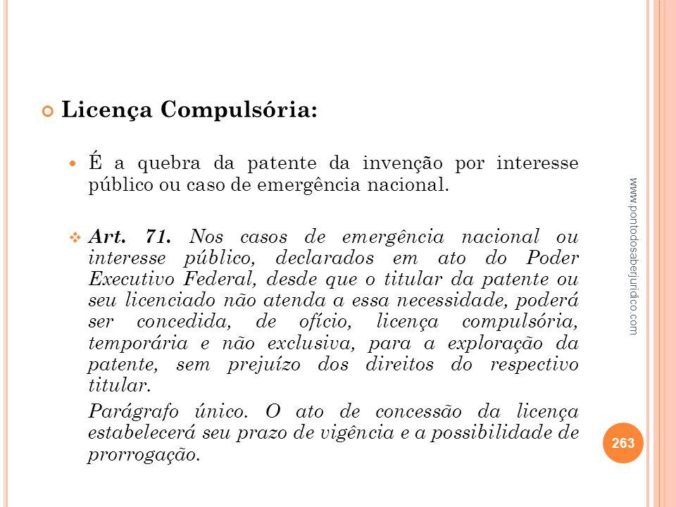 Licença Compulsória: É a quebra da patente da invenção por interesse público ou caso de emergência nacional.