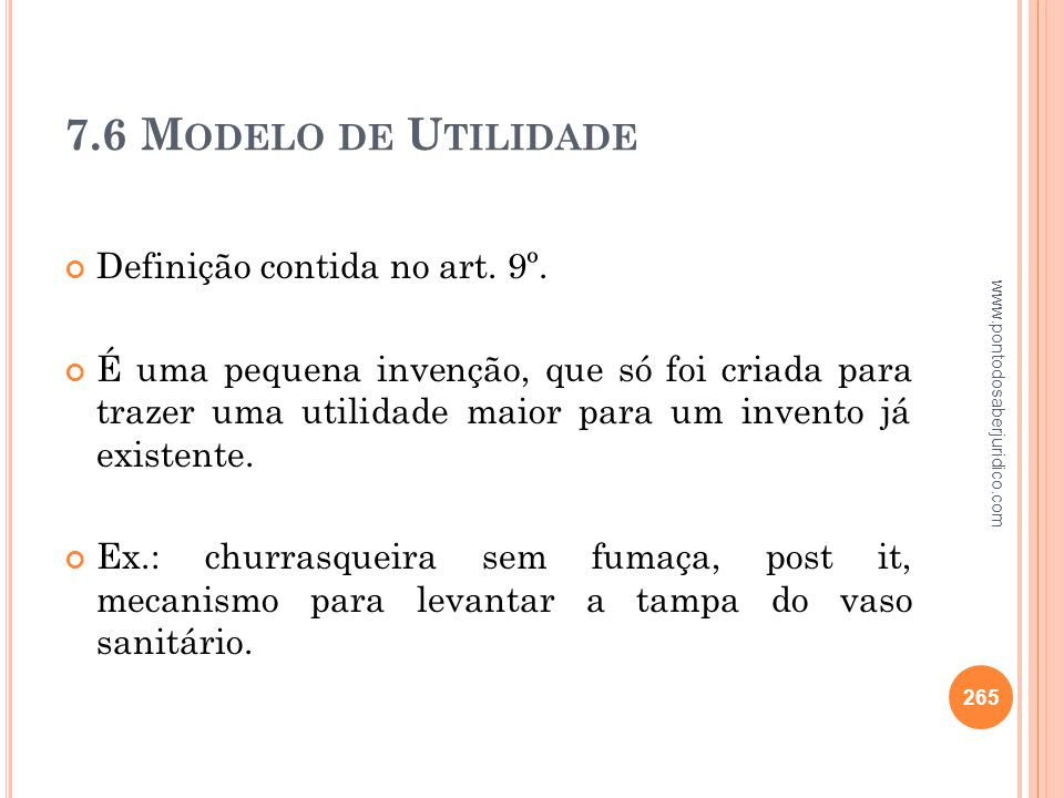7.6 Modelo de Utilidade Definição contida no art. 9º.