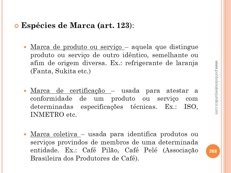 Espécies de Marca (art. 123):