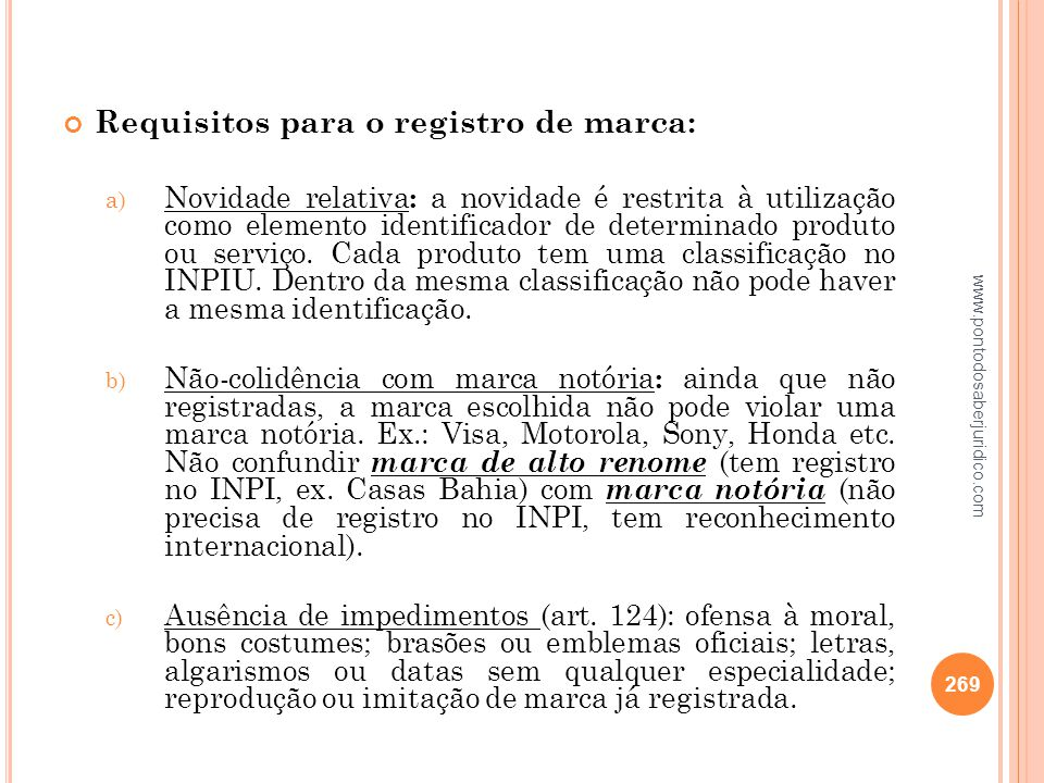 Requisitos para o registro de marca: