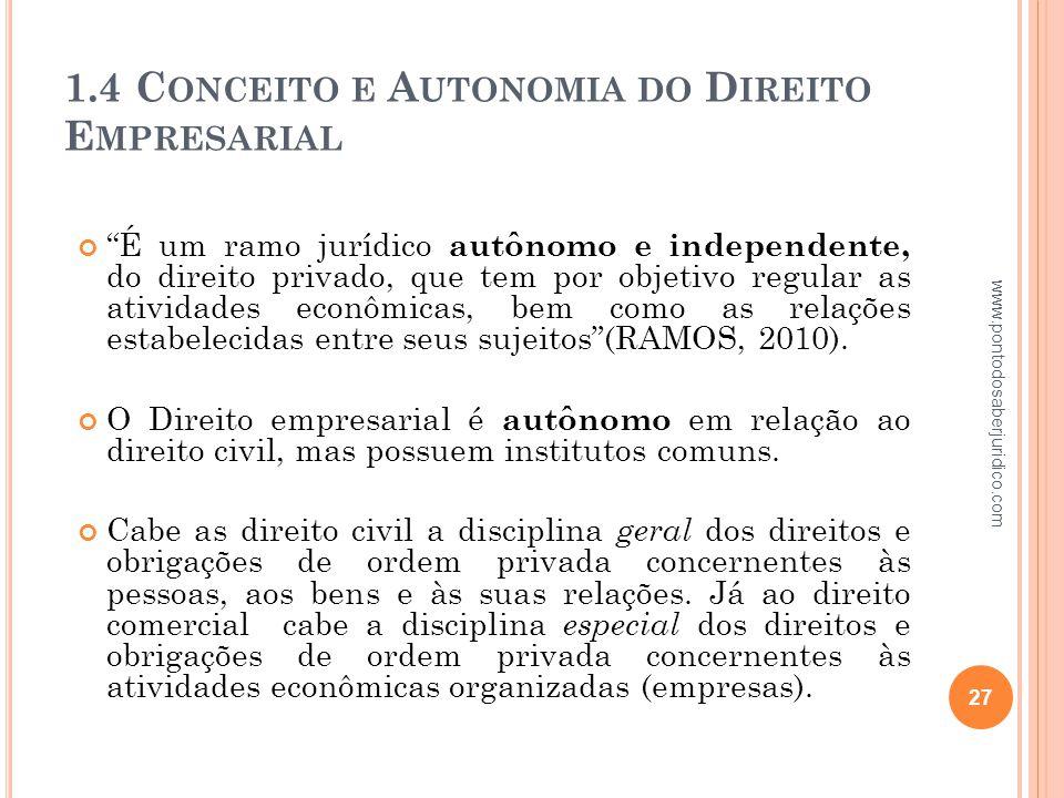 1.4 Conceito e Autonomia do Direito Empresarial