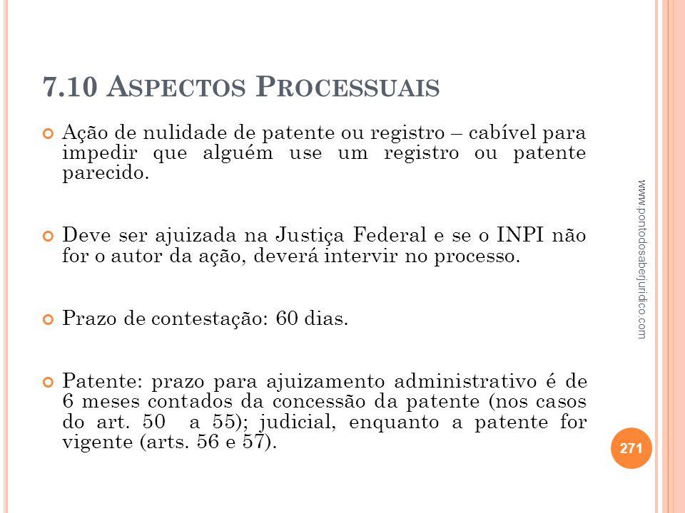 7.10 Aspectos Processuais Ação de nulidade de patente ou registro – cabível para impedir que alguém use um registro ou patente parecido.