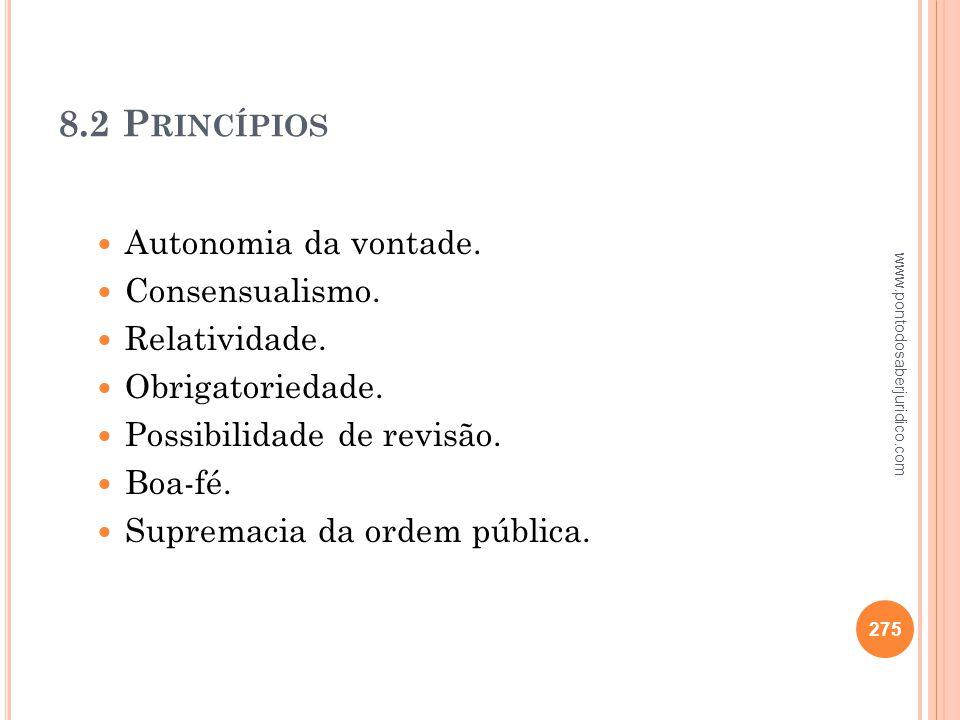 8.2 Princípios Autonomia da vontade. Consensualismo. Relatividade.