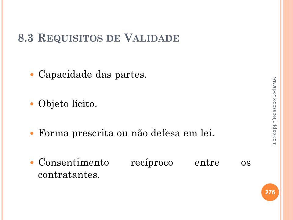 8.3 Requisitos de Validade