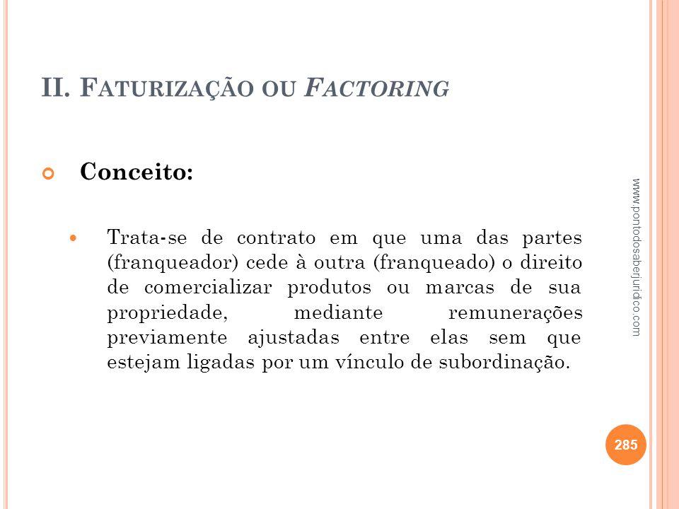 II. Faturização ou Factoring