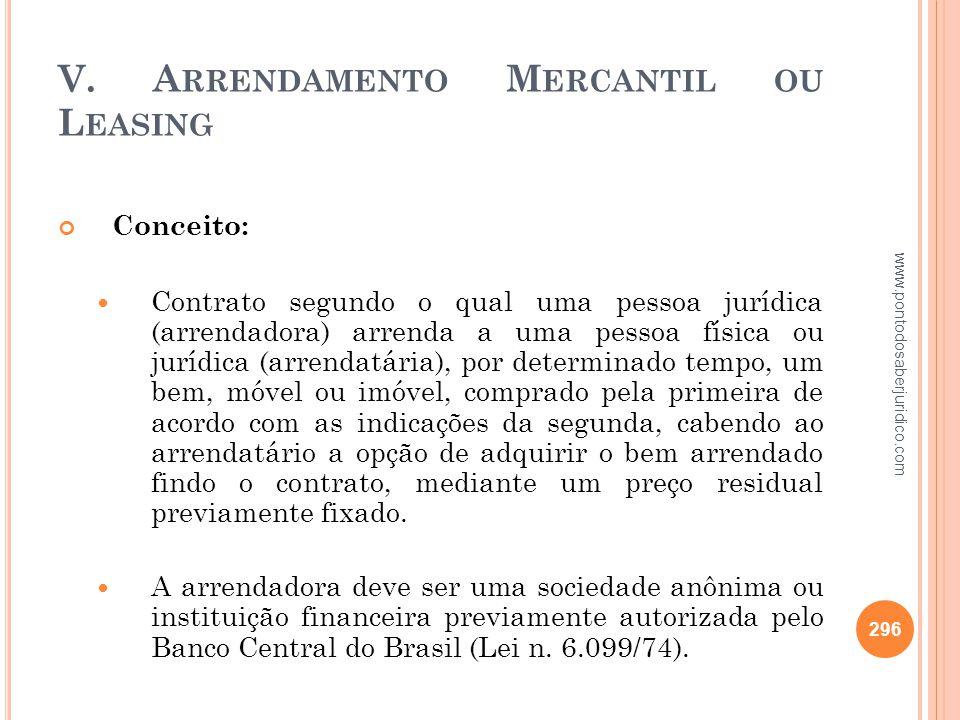 V. Arrendamento Mercantil ou Leasing