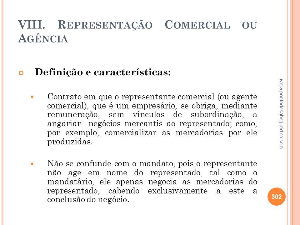 VIII. Representação Comercial ou Agência