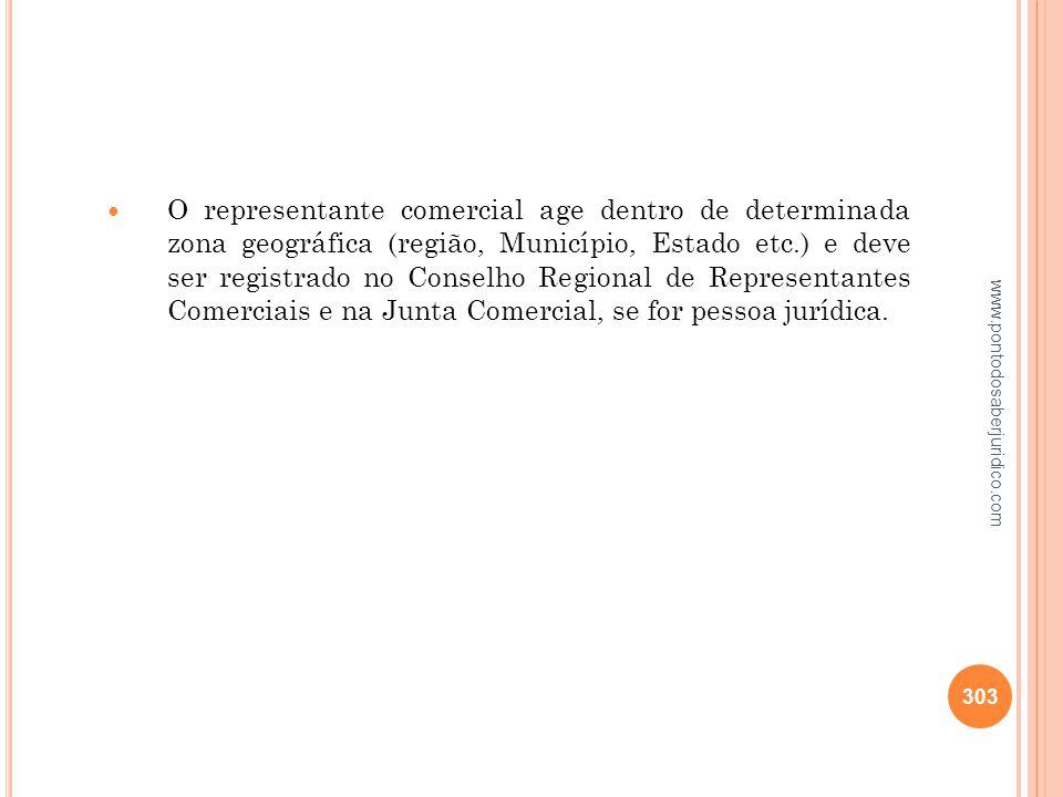O representante comercial age dentro de determinada zona geográfica (região, Município, Estado etc.) e deve ser registrado no Conselho Regional de Representantes Comerciais e na Junta Comercial, se for pessoa jurídica.