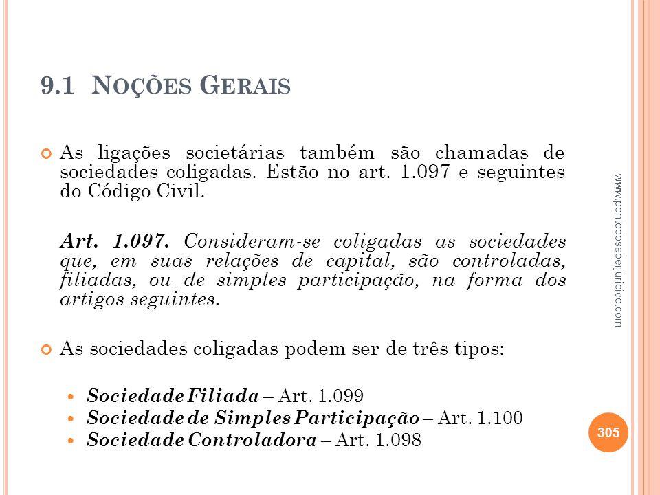 9.1 Noções Gerais As ligações societárias também são chamadas de sociedades coligadas. Estão no art. 1.097 e seguintes do Código Civil.