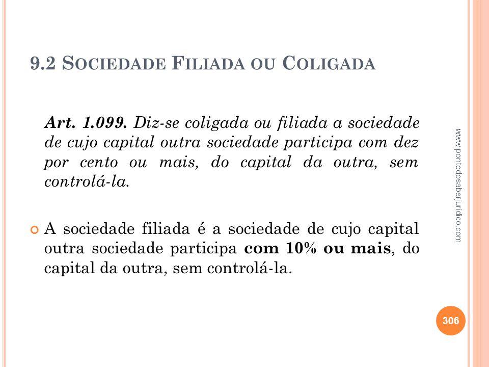 9.2 Sociedade Filiada ou Coligada