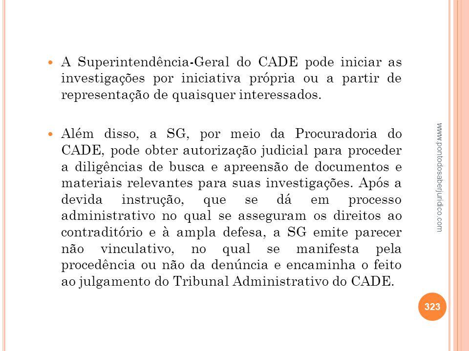A Superintendência-Geral do CADE pode iniciar as investigações por iniciativa própria ou a partir de representação de quaisquer interessados.