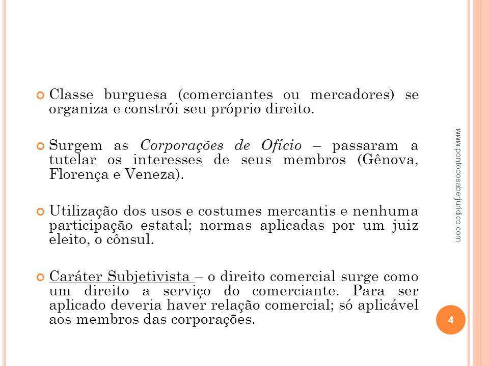 Classe burguesa (comerciantes ou mercadores) se organiza e constrói seu próprio direito.