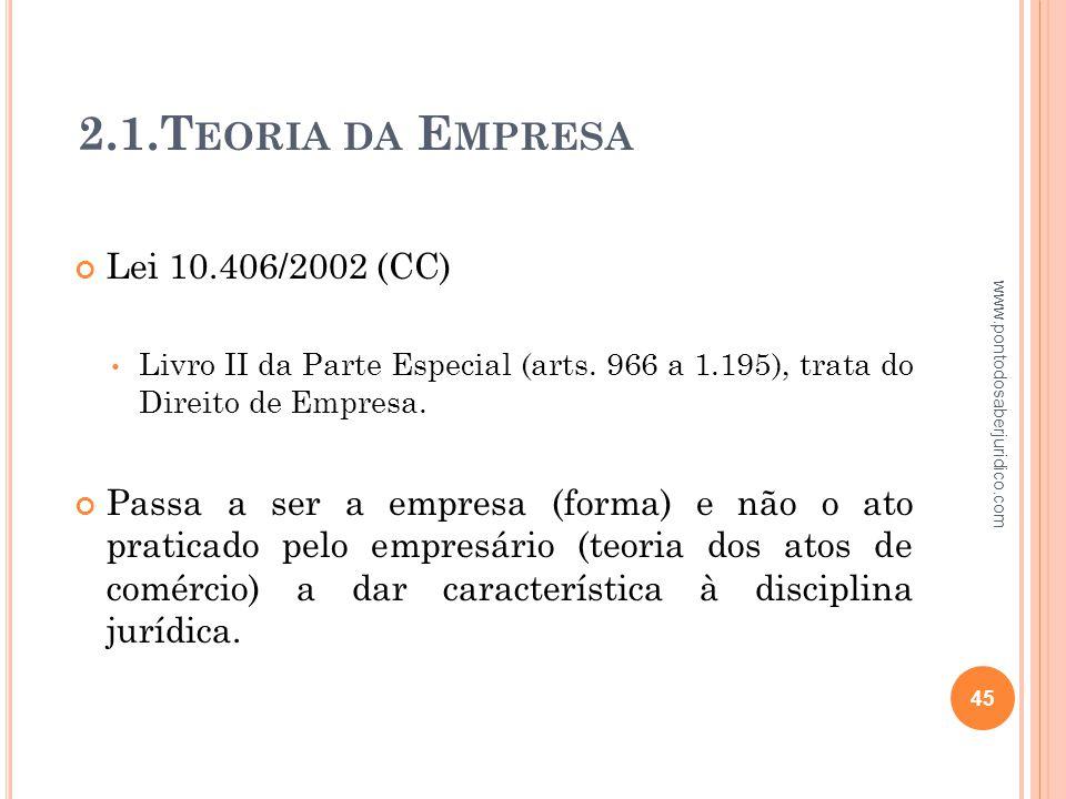 2.1.Teoria da Empresa Lei 10.406/2002 (CC)