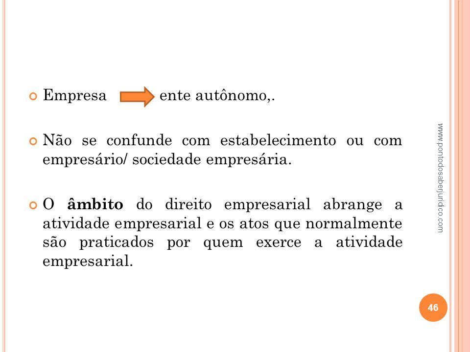 Empresa ente autônomo,. Não se confunde com estabelecimento ou com empresário/ sociedade empresária.