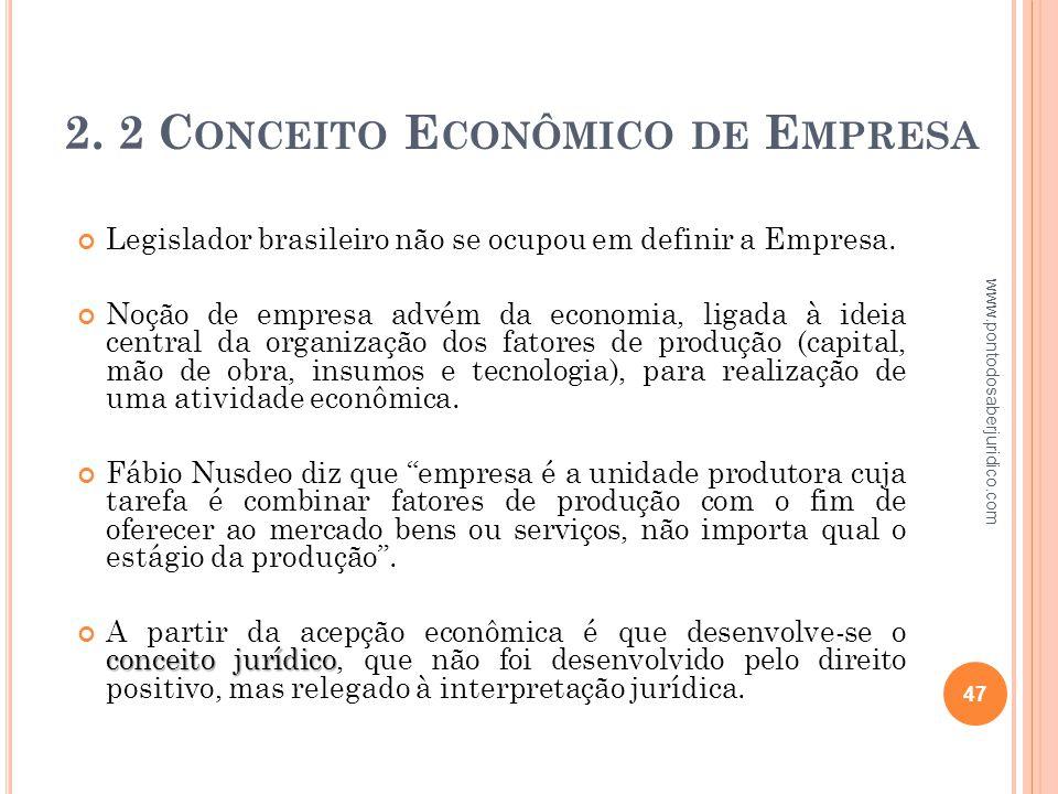 2. 2 Conceito Econômico de Empresa