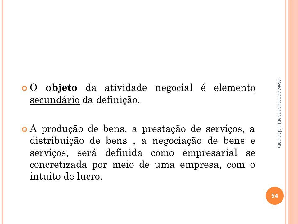 O objeto da atividade negocial é elemento secundário da definição.