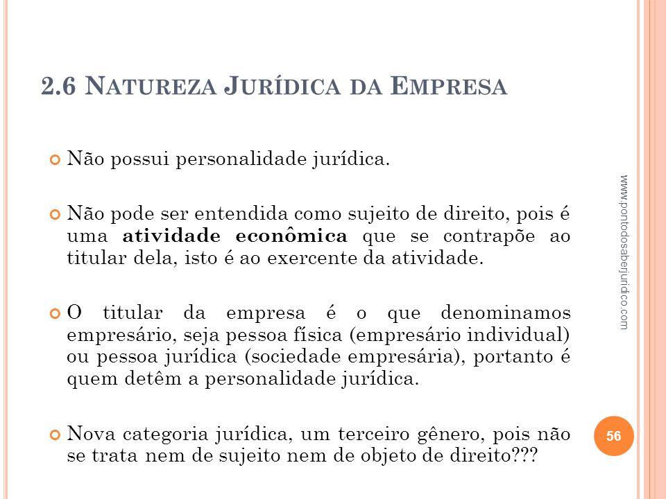 2.6 Natureza Jurídica da Empresa