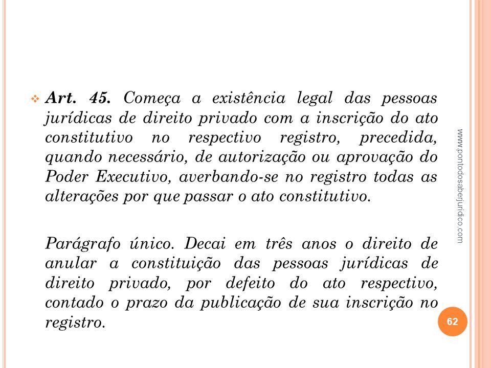 Art. 45. Começa a existência legal das pessoas jurídicas de direito privado com a inscrição do ato constitutivo no respectivo registro, precedida, quando necessário, de autorização ou aprovação do Poder Executivo, averbando‑se no registro todas as alterações por que passar o ato constitutivo.