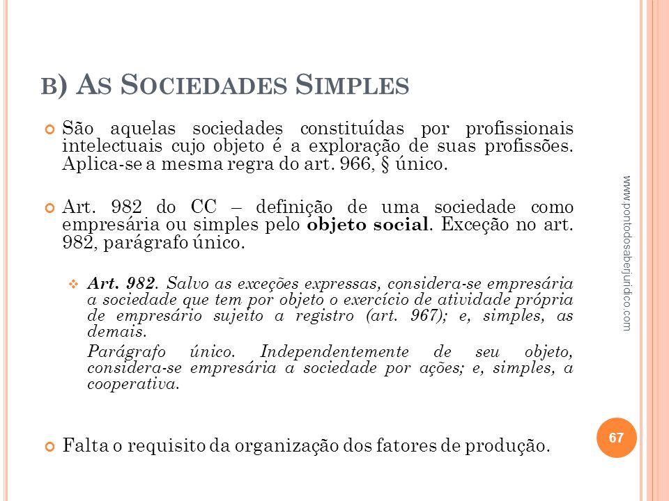b) As Sociedades Simples