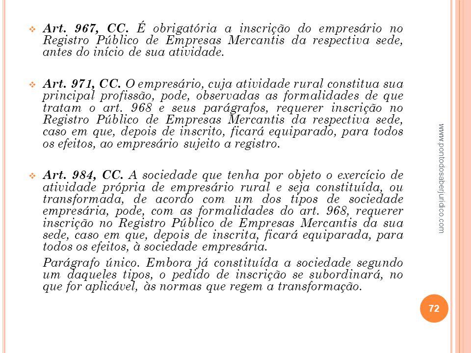 Art. 967, CC. É obrigatória a inscrição do empresário no Registro Público de Empresas Mercantis da respectiva sede, antes do início de sua atividade.