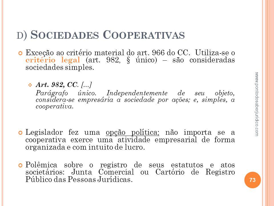 d) Sociedades Cooperativas