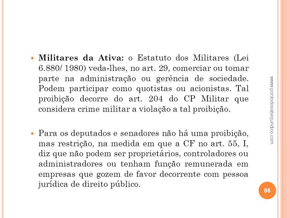 Militares da Ativa: o Estatuto dos Militares (Lei 6