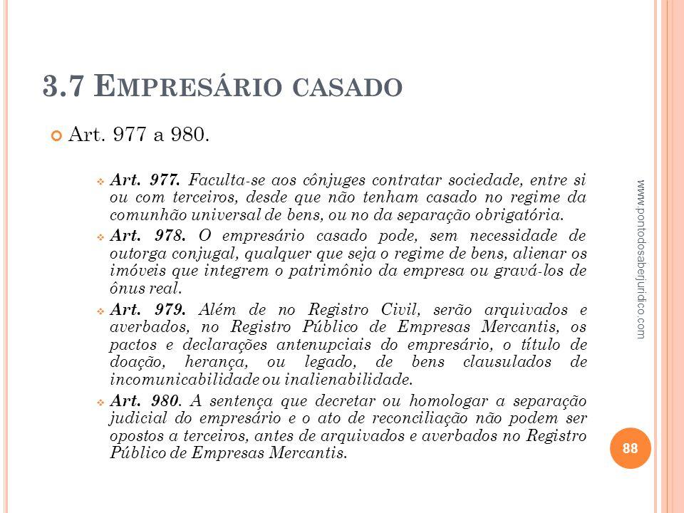 3.7 Empresário casado Art. 977 a 980.